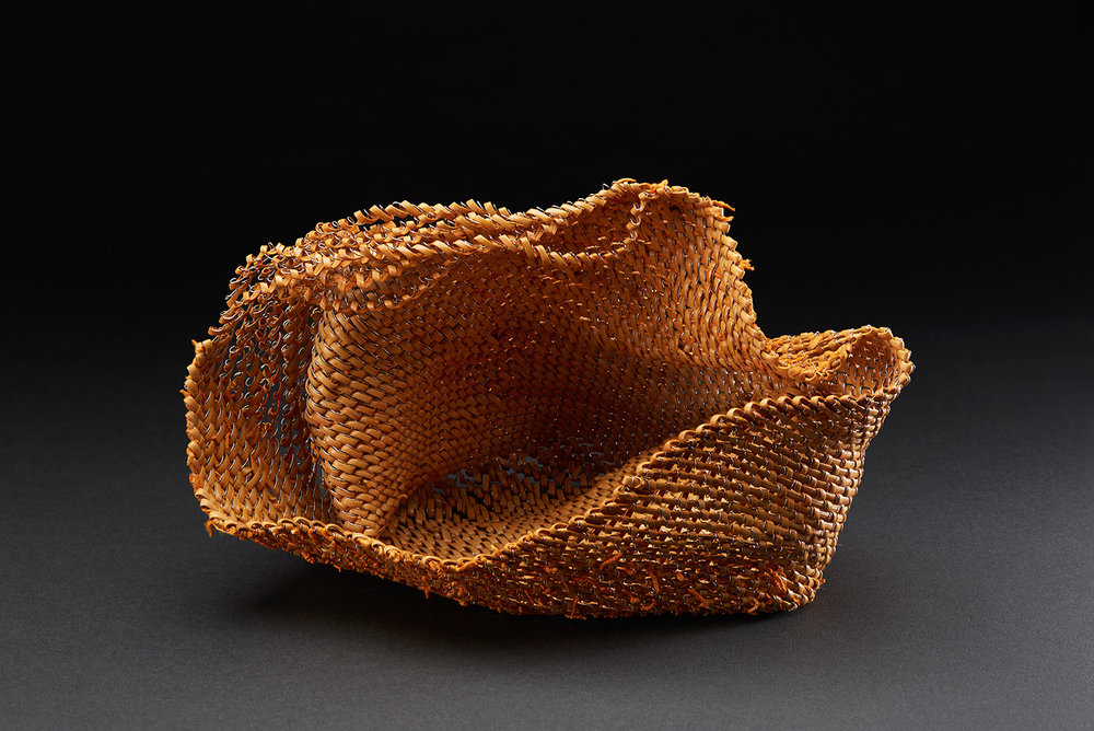 Michiko Fukai  The Wave I  , 2015 Rattan, stainless steel 7.48 x 9.84 x 7.09 inches 19 x 25 x 18 cm MFu 6