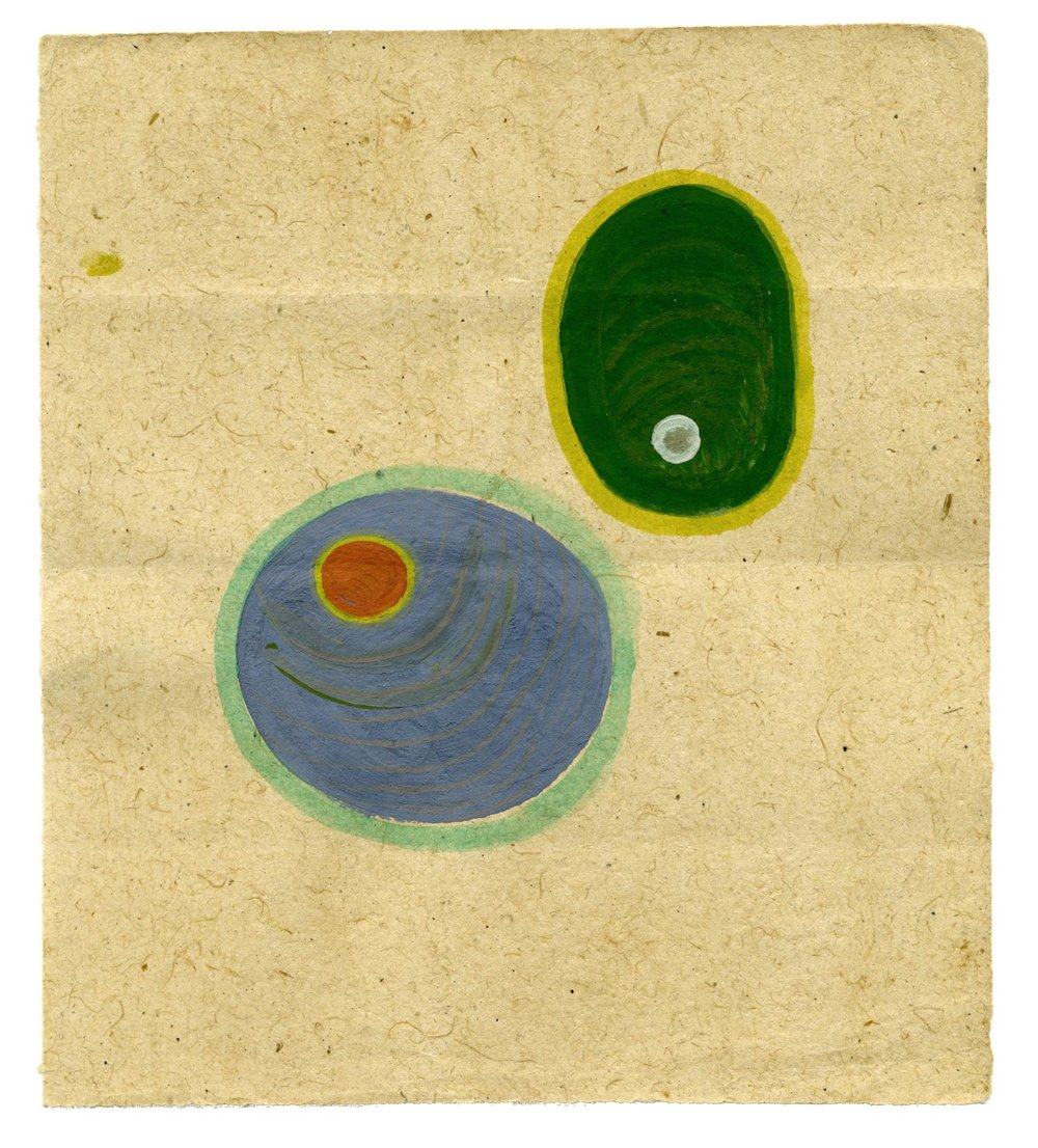 Tantra  Untitled  , ca. 1980-2014 Natural pigments (hand-ground colors: including minerals, mother of pearl, coral, tree resin, vegetable pastes) on vintage paper 5.98 x 5.28 inches 15.2 x 13.4 cm Tant 2