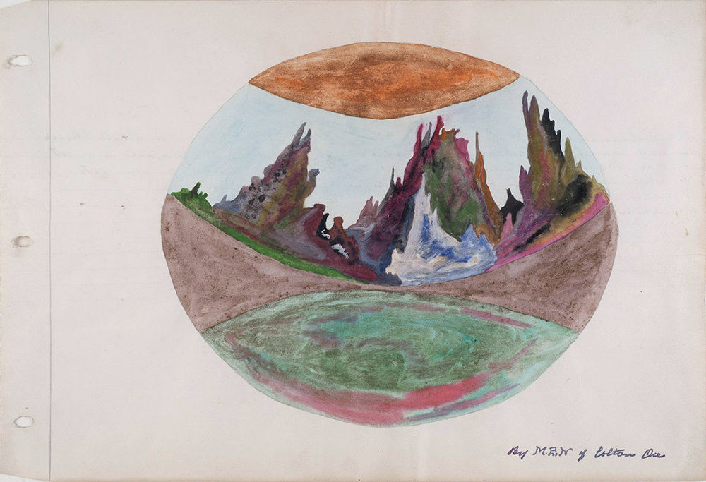 Melvin Edward Nelson  Planetary World #5  , 3/27/64 Mineral Pigment, Watercolor on Paper 11 x 17 inches 27.9 x 43.2 cm Nel 124