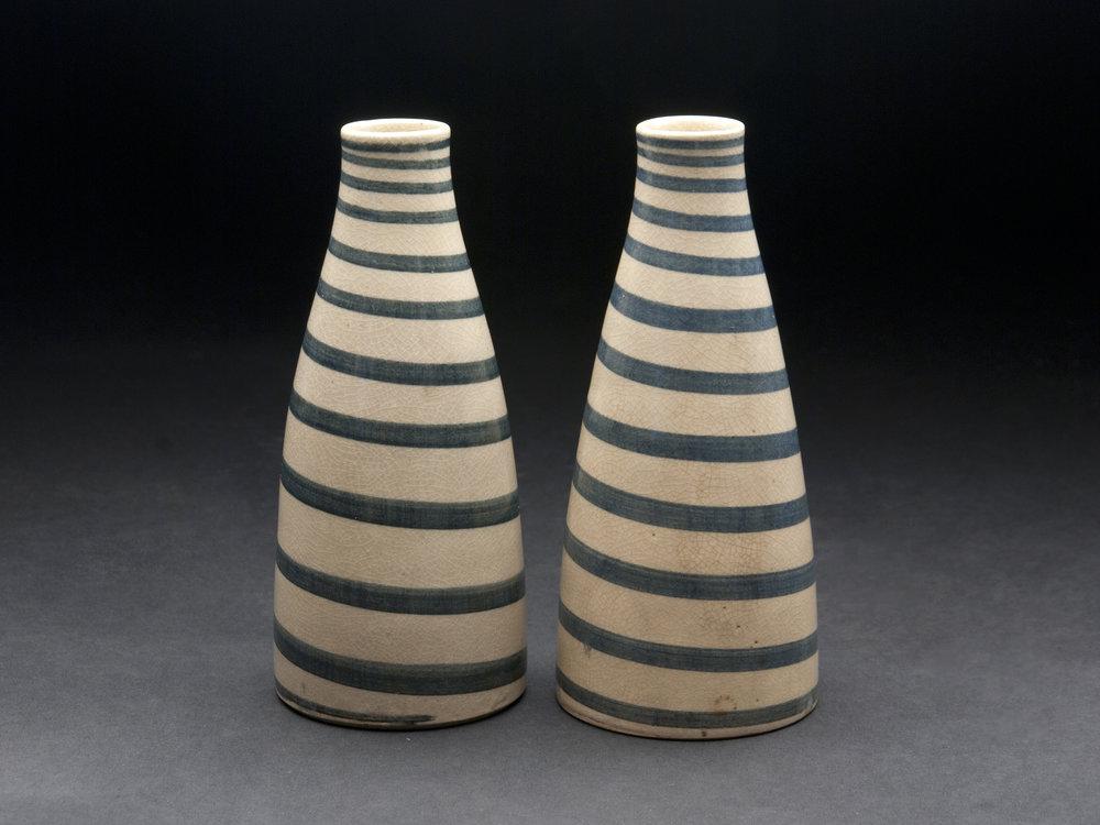 Japan    Tokkuri (Taisho era)   , c. 1912-1926 ceramic 6.25 x 2.75 inches 15.9 x 7 cm JA 655  $1,000 for set of two