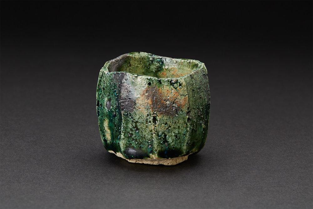 Higuchi Masayuki    Oribe Guinomi  , 2017 Ceramic 2.5 x 2.5 x 2.5 inches 6.4 x 6.4 x 6.4 cm HgM 1  $250