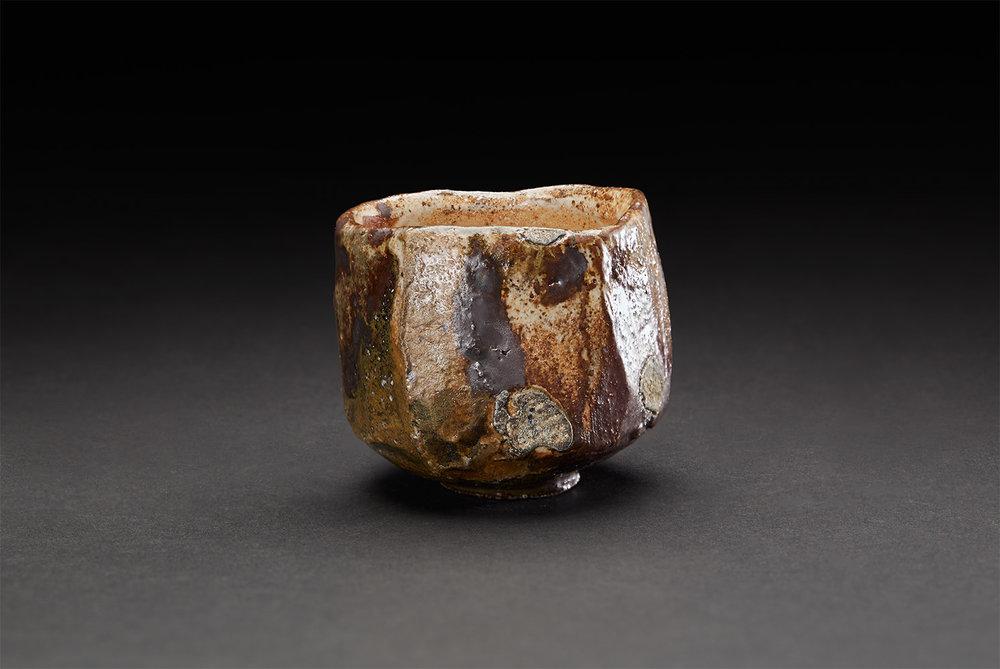 Takuro Shibata    Guinomi  , 2018 Woodfired North Carolina local clay, Kohiki glaze 2 x 2.5 x 2.5 inches 5.1 x 6.4 x 6.4 cm TkSh 6  $75