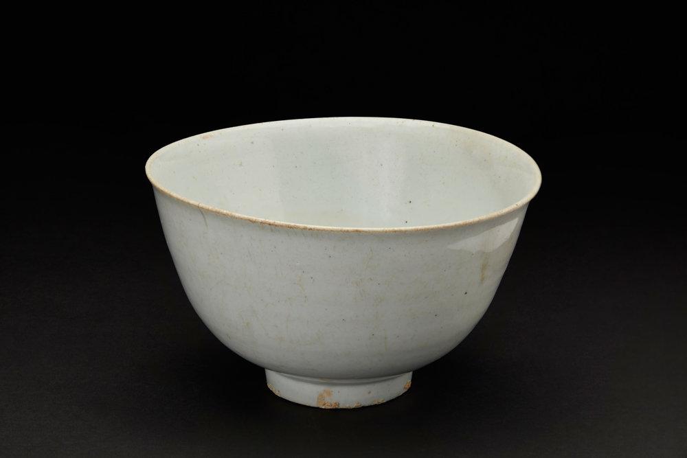 Korean Ceramics  Blue Monk's Bowl  , C. Early Chosun Period (15th Century) Fine Porcelain, Blue Celadon Glaze 7.5 x 4.25 inches 19.1 x 10.8 cm KCer 13