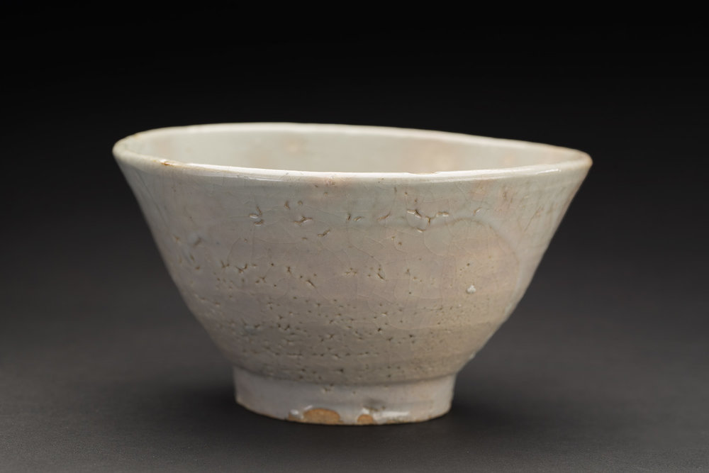 Korean Ceramics  Tea Bowl (original Japanese box, repatriated)  , Early Chosun Period Ceramic 6 x 3 inches 15.2 x 7.6 cm KCer 16