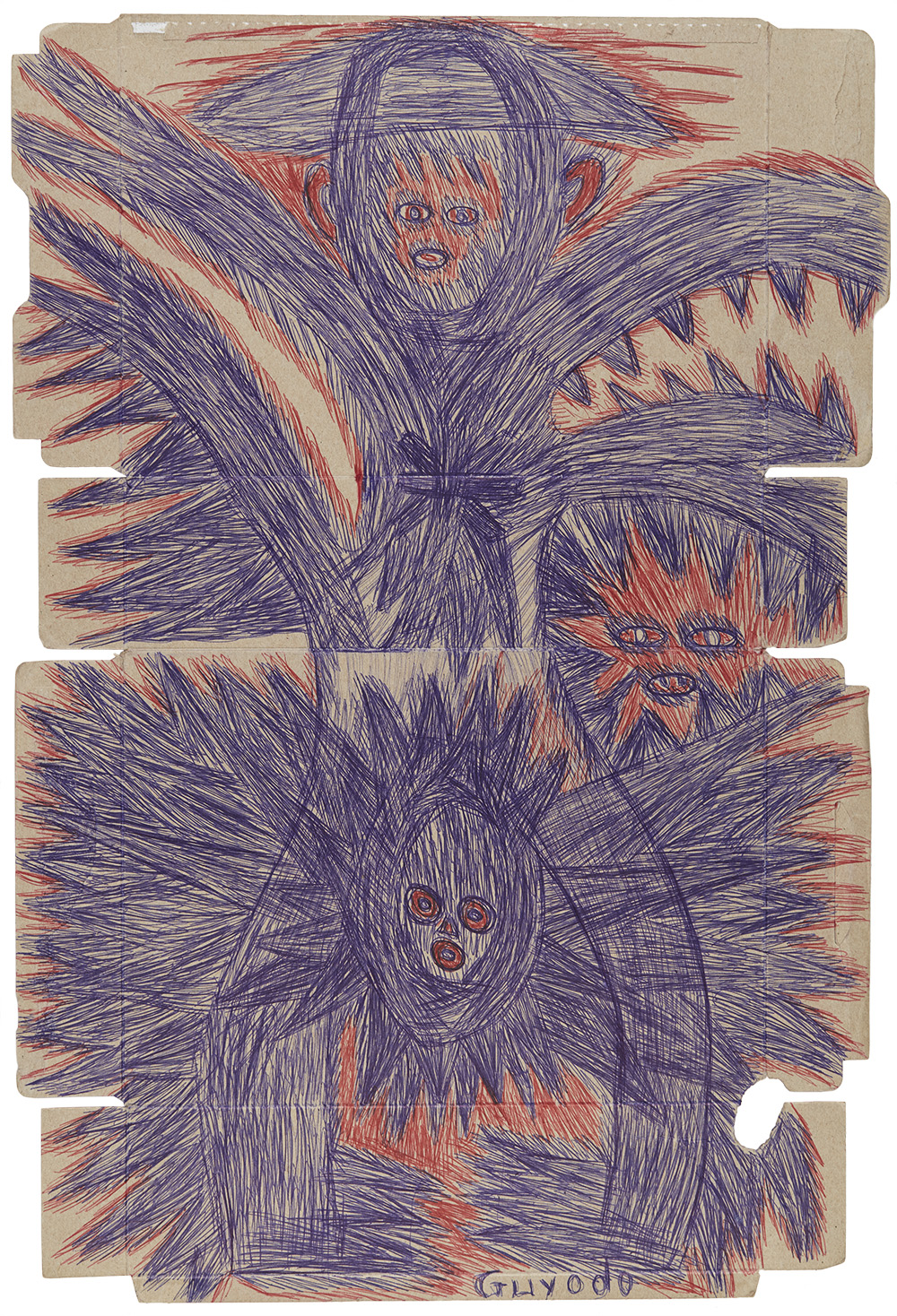 Guyodo (Frantz Jacques)  Untitled  , 2015 Ballpoint pen on recycled corn-flakes box 23.25 x 15.5 inches 59.1 x 39.4 cm Gyd 31