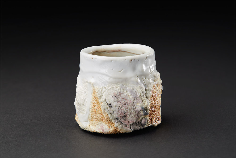 Eddie Curtis  Wheel thrown Sake Cup  , 2017 Snow white shino with texture 2.5 x 2.75 x 2.75 inches 6.4 x 7 x 7 cm ECu 21