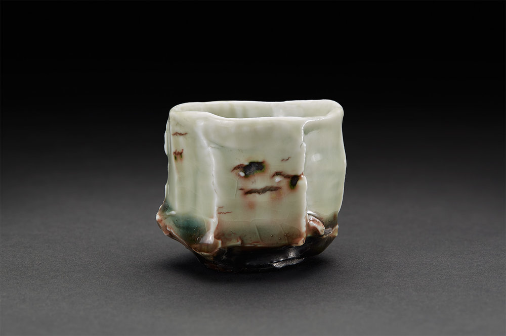 Eddie Curtis  Kurinuki Sake Cup  , 2017 Porcelain, celadon with copper red highlights 2 x 2.25 x 2.25 inches 5.1 x 5.7 x 5.7 cm ECu 24