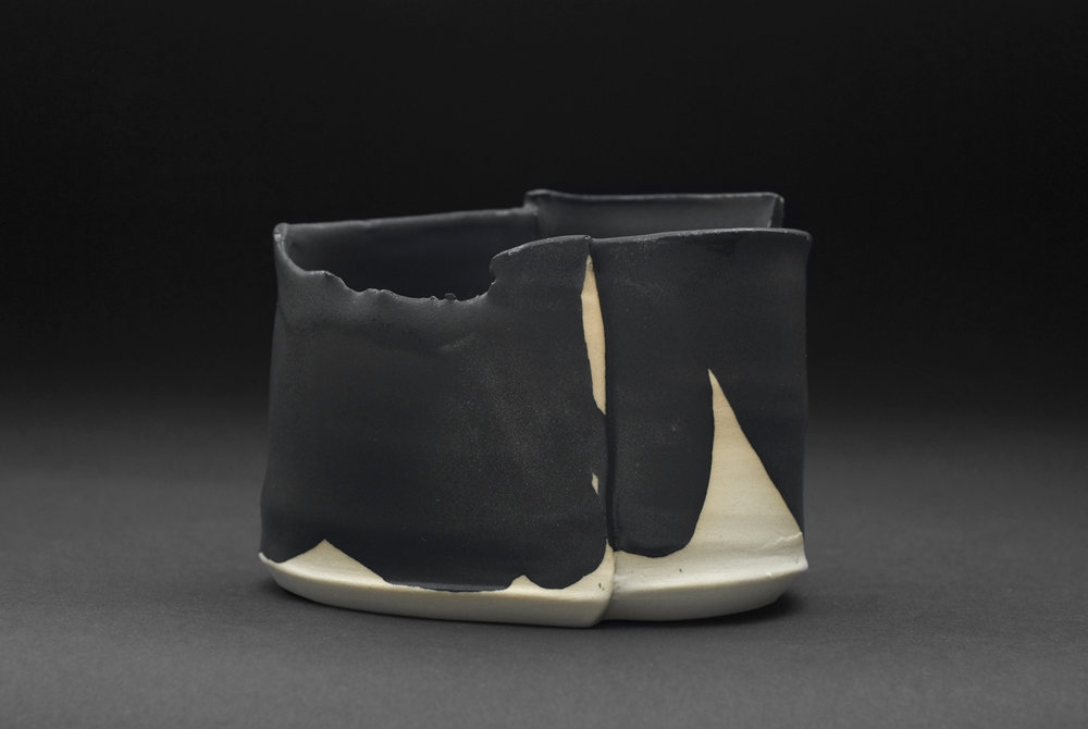 Robert Fornell  Stealth 2  , 2012 Porcelain, black glaze 3.5 x 4.5 inches 8.9 x 11.4 cm RFo 117