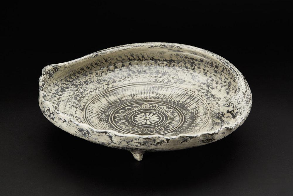 Touri Maruyama  Mishima Awabi Bowl  , 2010 Kyoto black clay with Ash glaze 4 x 10 inches 10.2 x 25.4 cm TMar 3