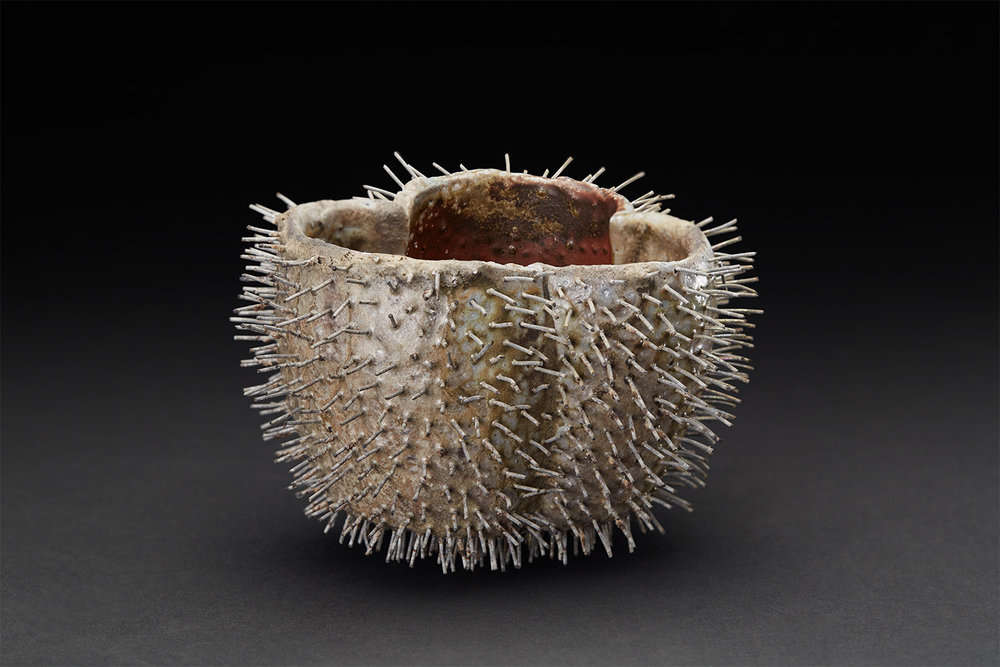 Tim Rowan  Spiked Vessel  , 2005 Woodfired Ceramic 3.75 x 4 x 5 inches 9.5 x 10.2 x 12.7 cm TR 12