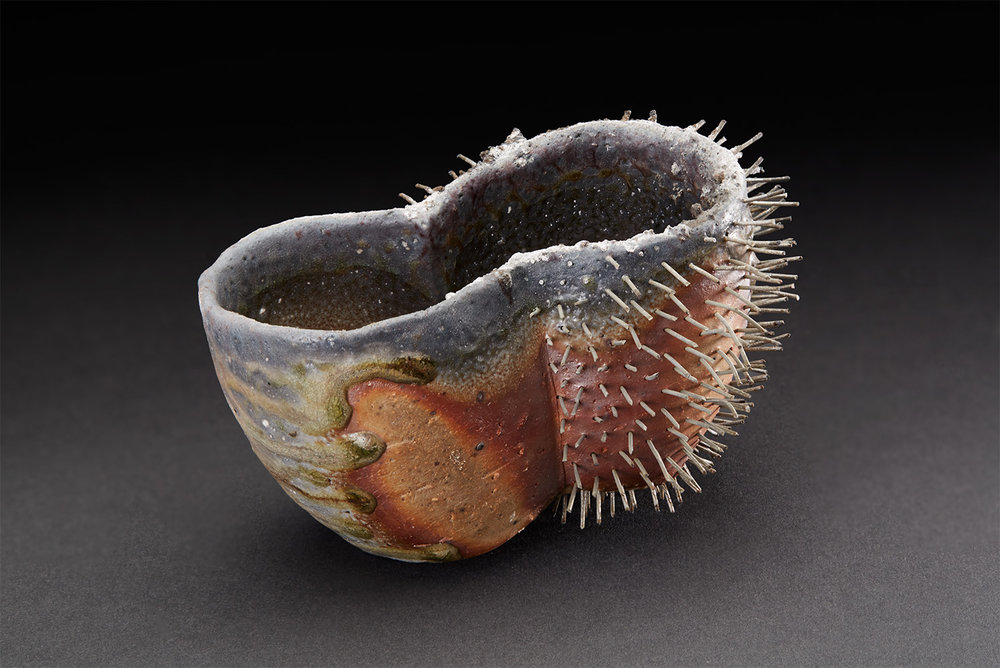 Tim Rowan  Spiked Vessel  , 2005 Woodfired Ceramic 3.25 x 2 x 5 inches 8.3 x 5.1 x 12.7 cm TR 13