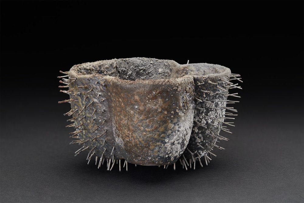 Tim Rowan  Spiked Vessel  , 2005 Woodfired Ceramic 3.25 x 4.75 x 6 inches 8.3 x 12.1 x 15.2 cm TR 17