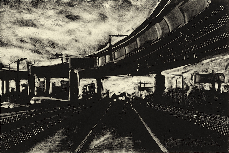 "Roads 06 -Springfield 91S  2014   10""x15"" Monotype"