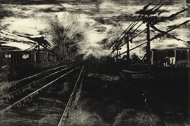 "Roads 07 -Damon Rd. Northampton, MA2014 10""x15"" Monotype In the Prints & Photographs Collection at The Boston Athenæum"
