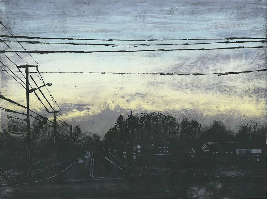 "Dawn - Russell St, Hadley, MA  2014 18""x24""  Three Stage Monotype   In the   Prints & Photographs   Collection at The Boston Athenæum"