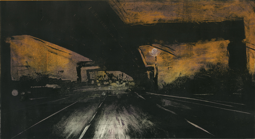"Garden State Parkway S Newark, NJ  2014 12""x22"" Three Stage Monotype"