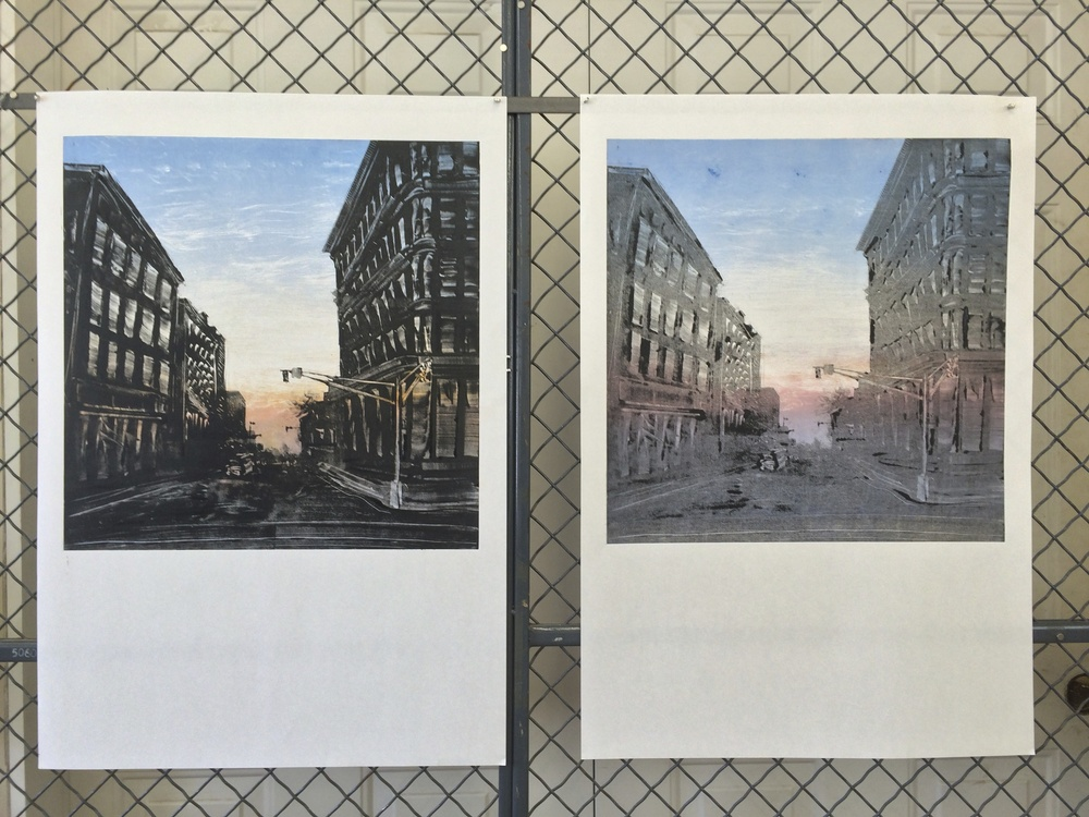 "Downtown Holyoke  2015  19""x19"" Two Stage Monotype"