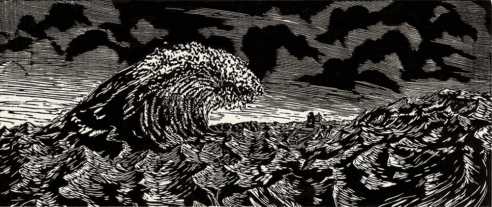 "Tides  2014  W  oodcut Print   10""x24""  Edition of 3"