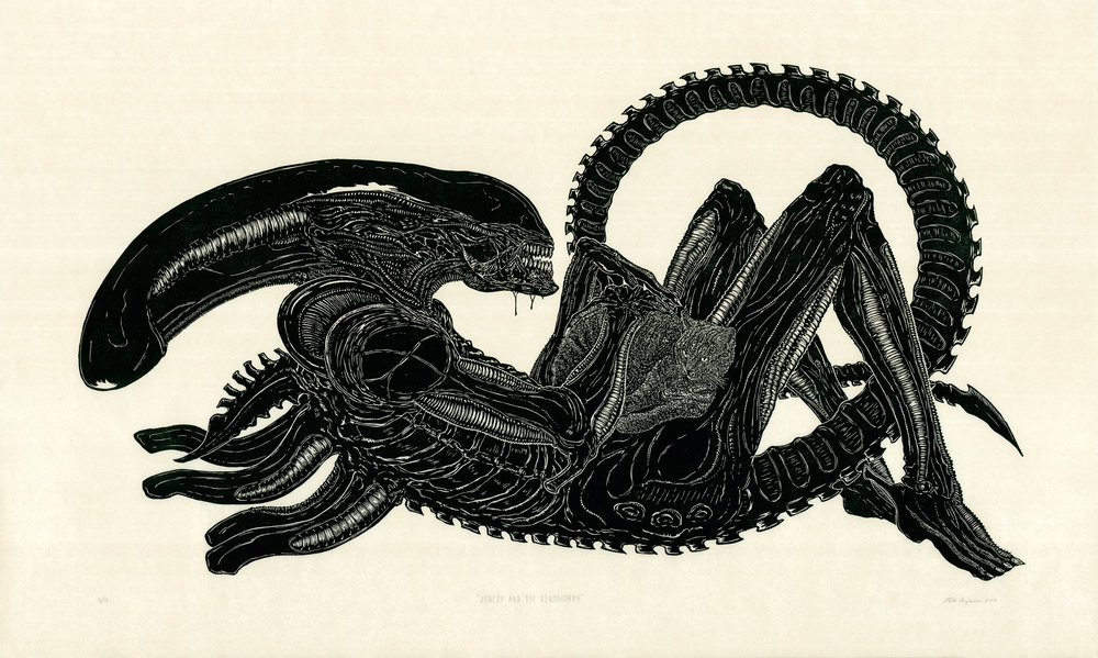 "Jonesy and the Xenomorph  2016   Woodcut Print on Paper  Print Measurement: 24"" x 45"" Paper Dimensions: 30"" x 50"" Edition of 12"