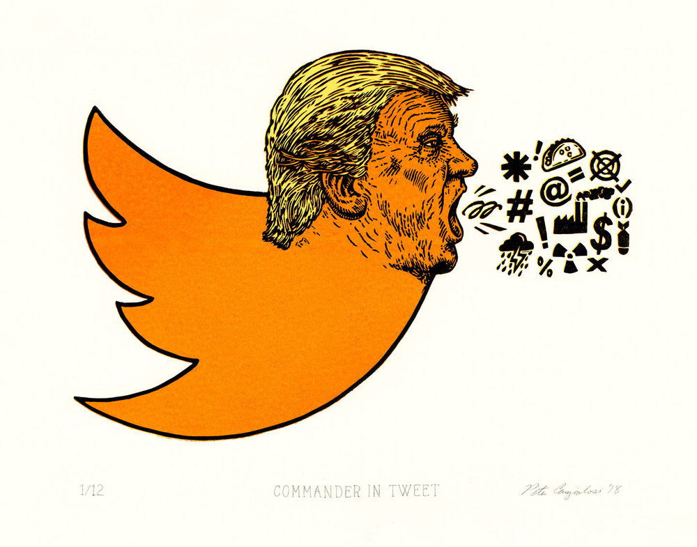 "Commander In Tweet 2018 Linocut Print on Paper Print Measurement: 8"" x 11.5"" Paper Dimensions: 11"" x 14"" Edition of 12"