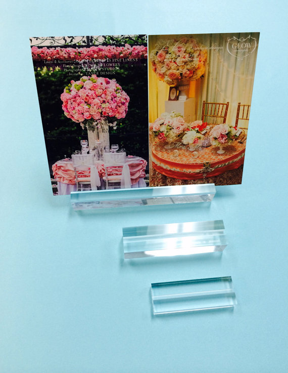 Clear Modern Place Card Holder, Business Card Holder, Table Number Holder,  Price Holder, Photo Holder