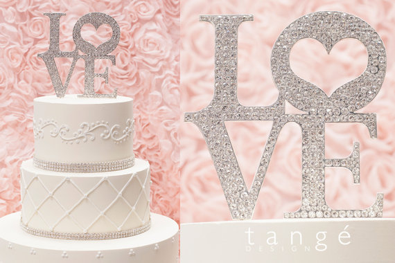 Metal LOVE Rhinestone Studded Cake Topper In Silver Or Gold For Wedding,  Anniversary, Love Expression, And Gift