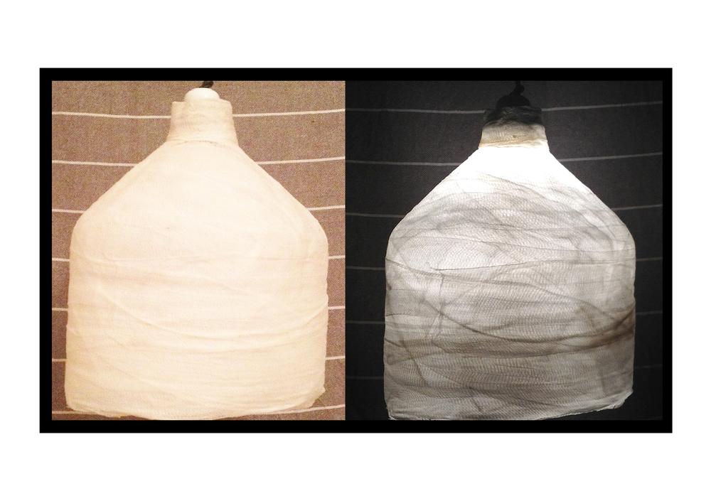 Chiuchiarelli custom fabricated lampsGawacomprised of gauze and glue.