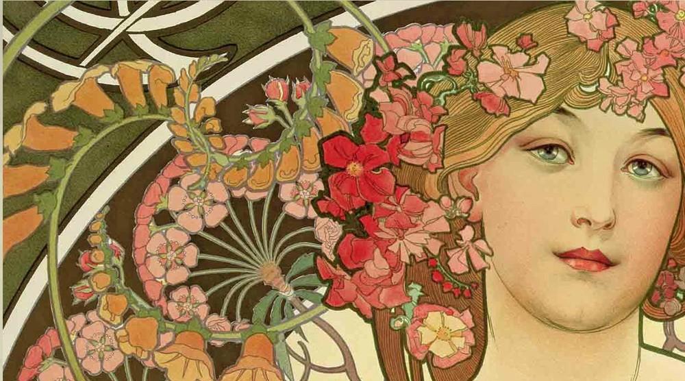 Alphonse mucha part one art nouveau tw murals for Art nouveau mural