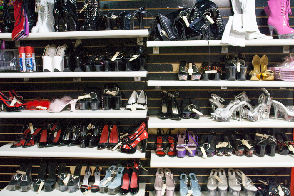 Shoe display at an adult entertainment retail store.