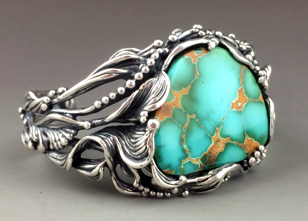 Sculptural Sterling Silver and High-Grade Royston Turquoise Bracelet
