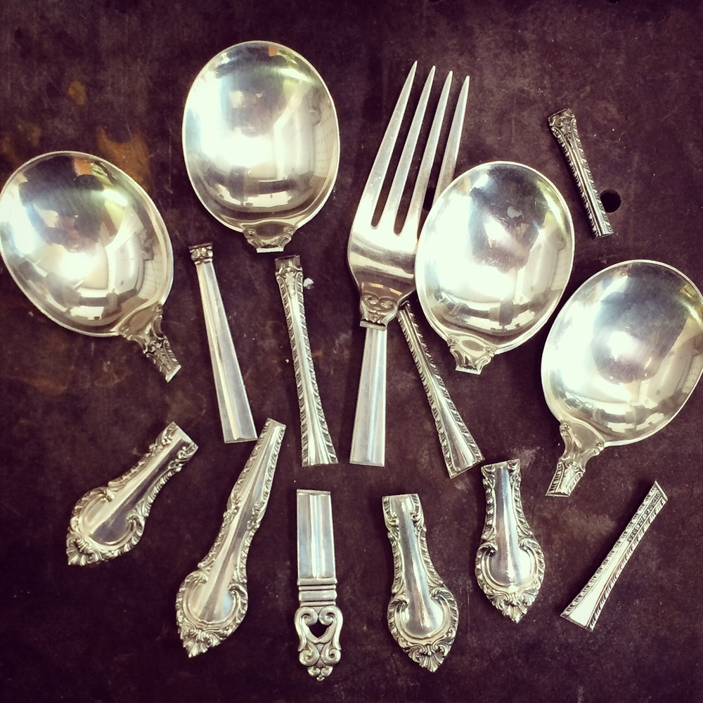 Sterling silverware ready to be melted down, recycled for the lost wax casting process.