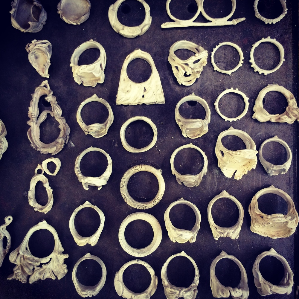 Freshly cast recycled silver rings ready to be cleaned up...