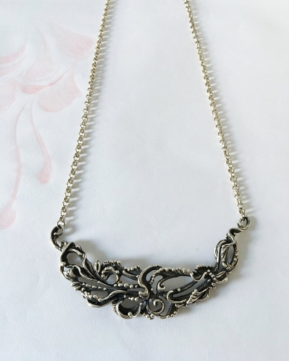 Sculptural Flourishing Necklace inspired by the waters running through our gardens, carved in wax and cast into recycled sterling silver by Colorado Artist Crystal Hartman.
