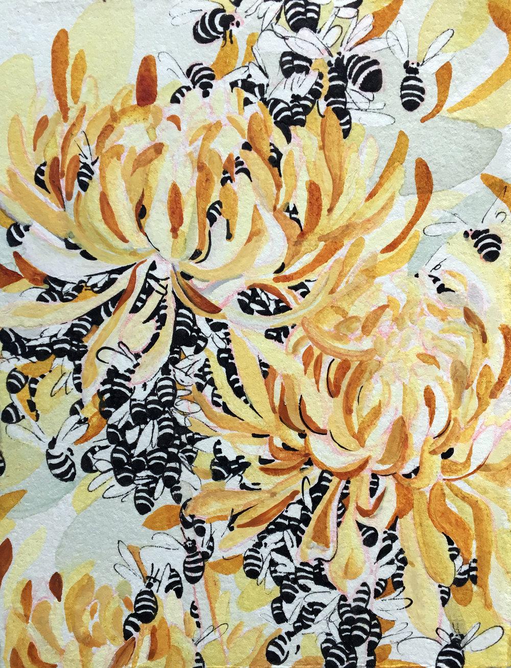 Zinneas and Honeybees