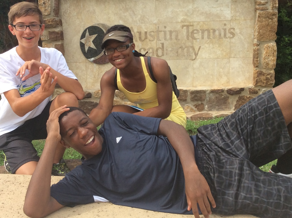 Luke, Nia, Myles having fun in Austin Texas after practicing at the Austin Tennis Academy. The following day they went to a mentoring session below.