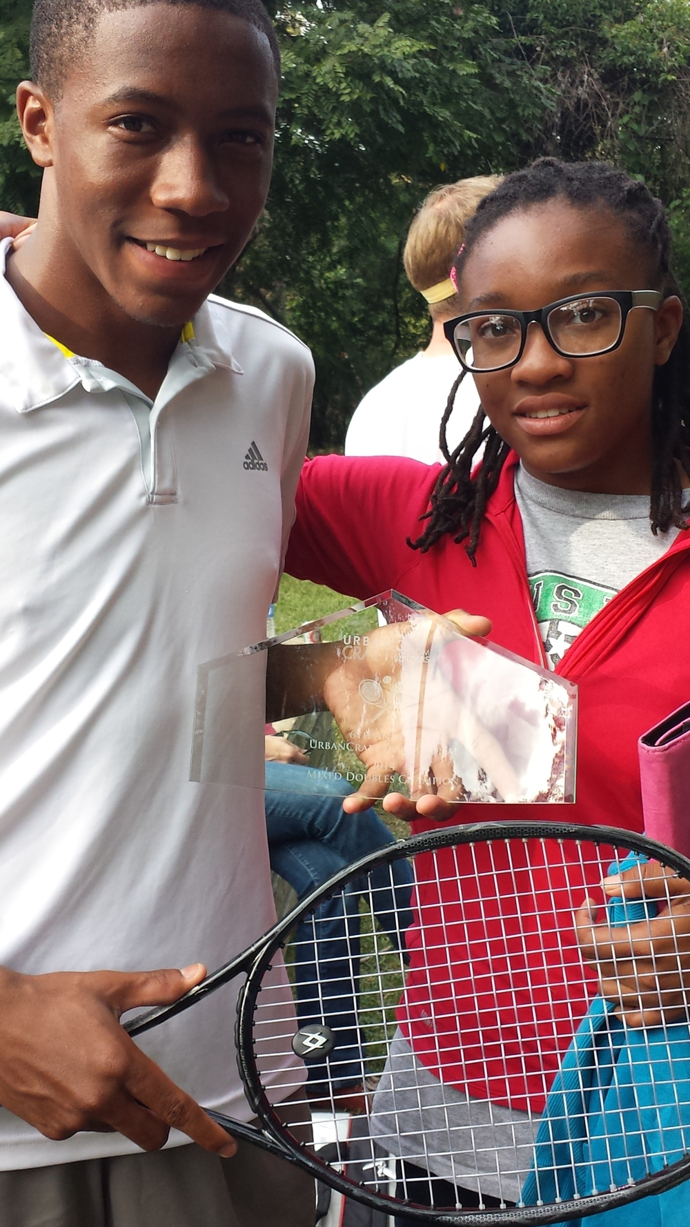 Myles Martin in photo with his sister Nia. Myles won the Doubles at the Pro/Am benefiting the Zina Garrison Foundation.