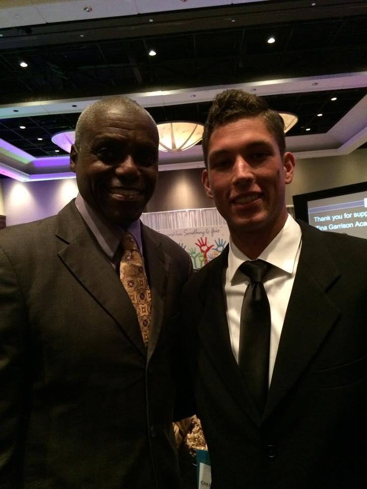 Carl Lewis (track star & legend) with Matt McBride (tennis player & future icon) at Zina's Gala
