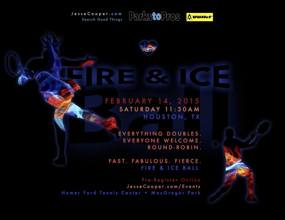 Fire & Ice Ball poster Houston Texas USTA League February 14, 2015 Homer Ford Tennis Center