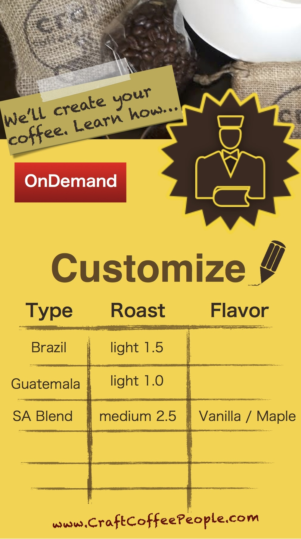 "A limited opportunity - - Craft Coffee People is offering ""OnDemand Roasting""."