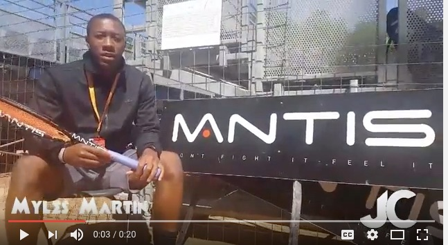 Mantis Moment with Player Myles Martin  - Mantis tennis player Myles Martin gives a video shout out to the tennis racquet brand while in Lyon, France. Learn more about why Myles plays with Mantis by reading and playing this video.