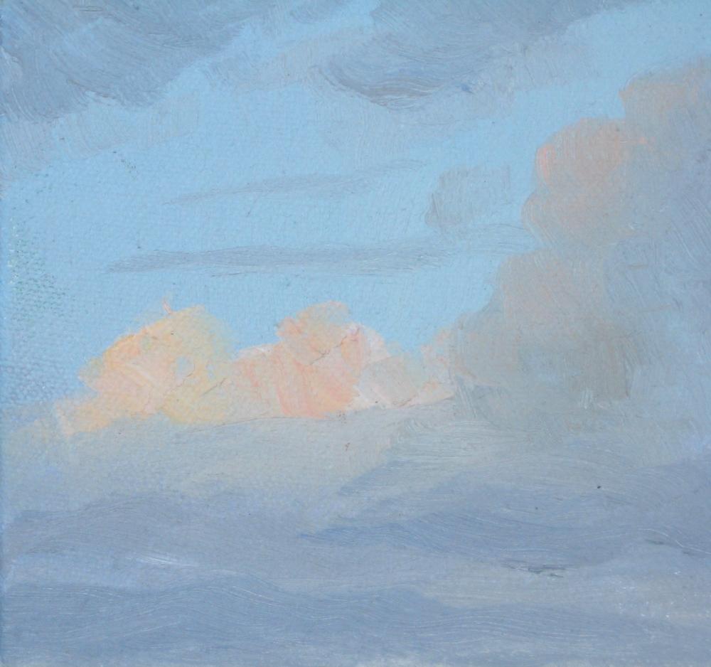 "SKY I  5X5X1"" (13X13X2.5cm) Oil on canvas"