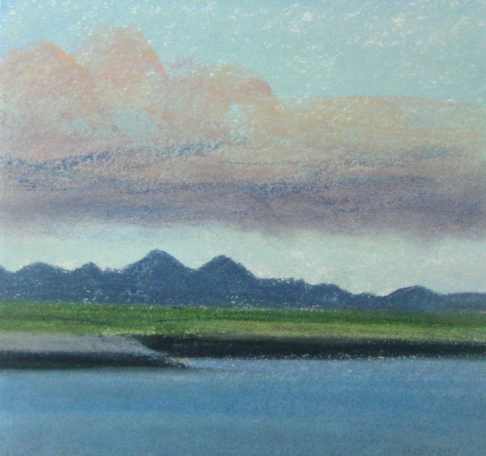 "WEST ICELAND  Approx. 8x7.5"" (20x18.5cm)  Pastel on card"