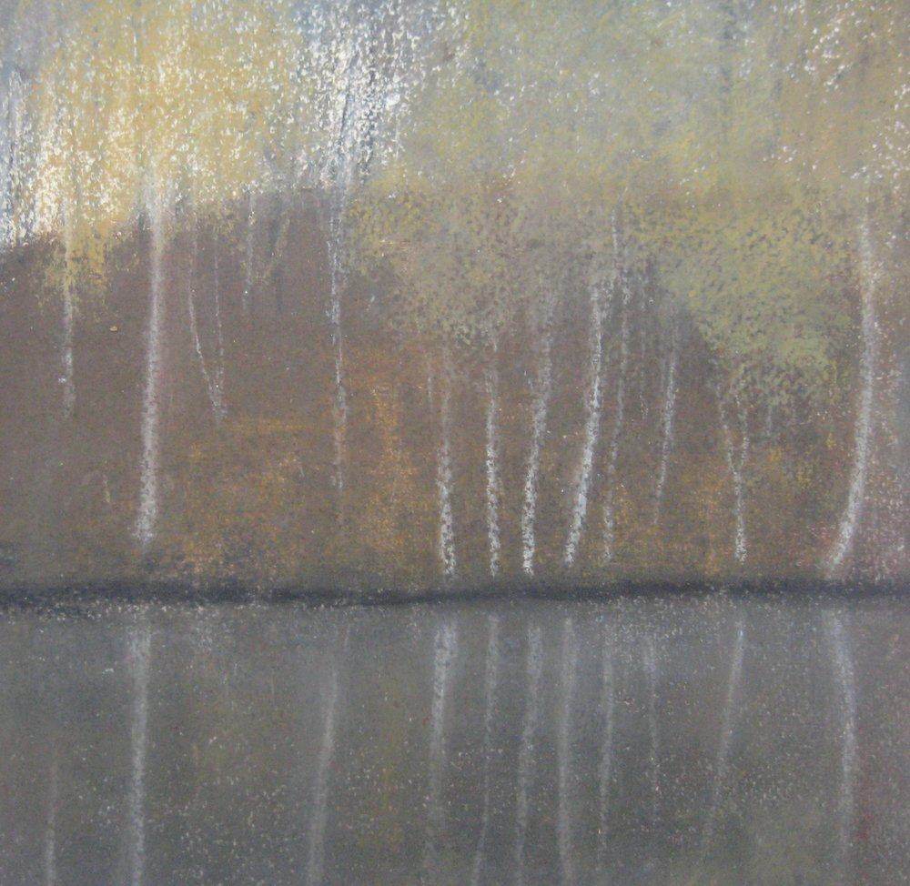 "BIRCHES  Approx. 9.25x10.25"" (23x5cm)   Pastel on heavy watercolour paper"