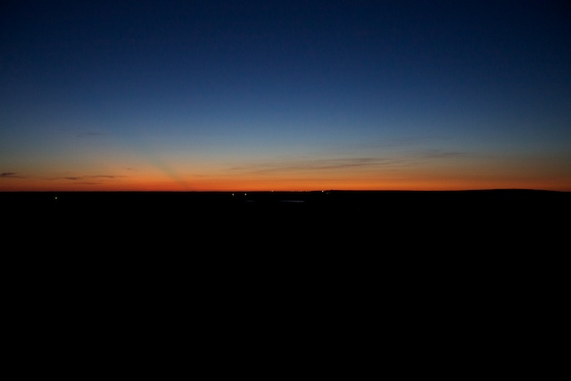Waiting for dawn outside Badlands National Park.