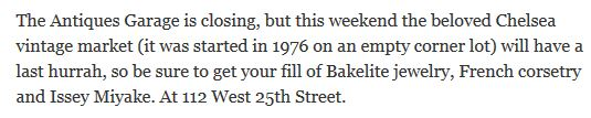 The New York Times--mention of the closing of the Antiques Garage