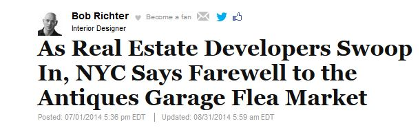 HUFF POST NEW YORK: As Real Estate Developers Swoop In, NYC Says Farewell to the Antiques Garage Flea Market