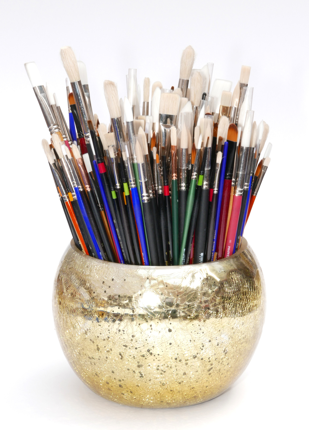 New Paint Brushes in a Handmade Gold Embossed Vase