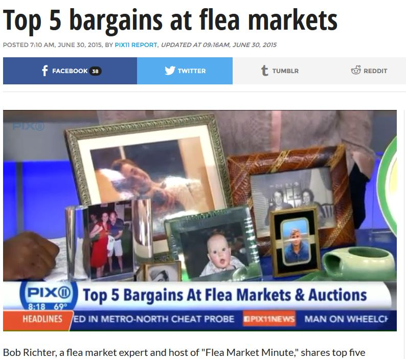 PIX 11: Top 5 Bargains at Flea Markets & Auctions (mentions Chelsea Flea Market & Hell's Kitchen Flea Market)