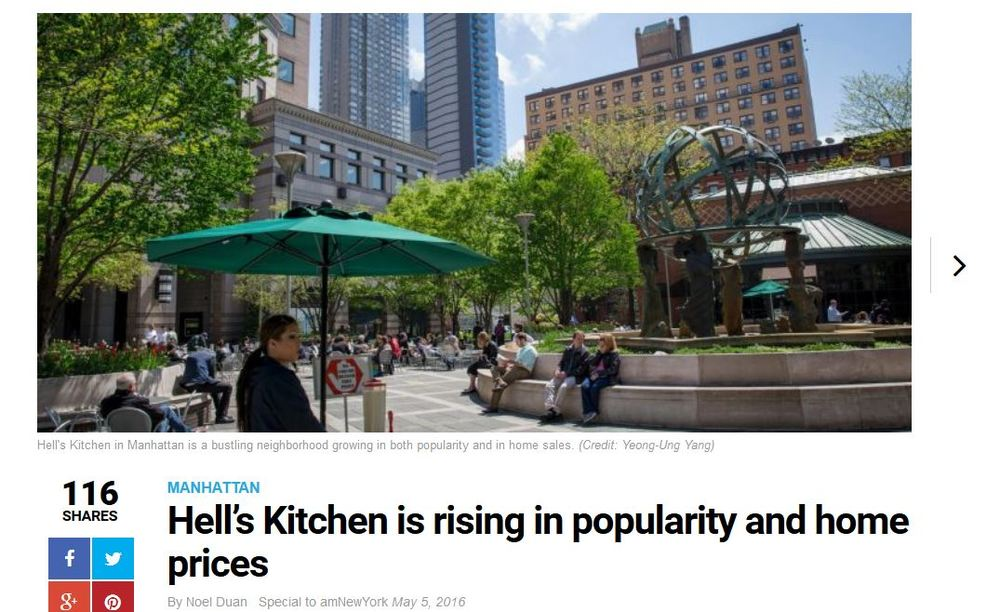 amNewYork: Hell's Kitchen is rising in popularity and home prices. (Shopping section mentions Hell's Kitchen Flea Market)