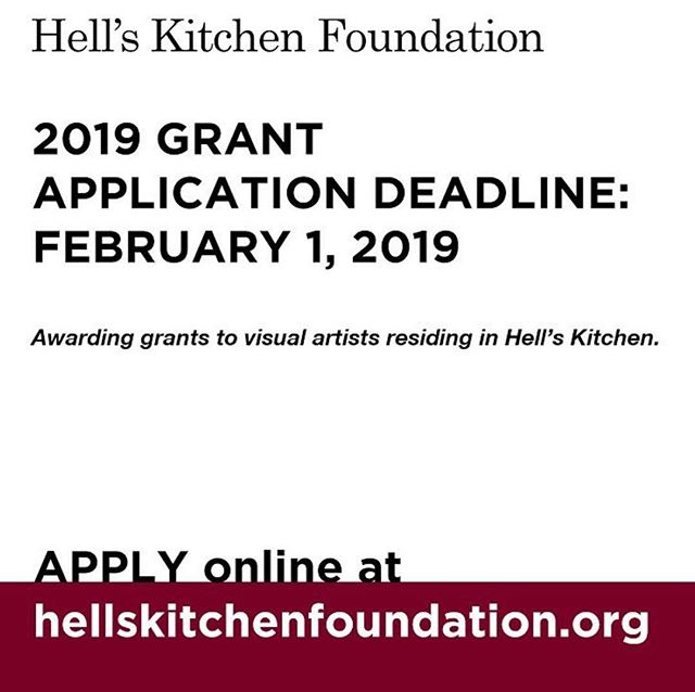 """The Hell's Kitchen Foundation, the community sponsor for Hell's Kitchen Flea Marker, has announced a call for applications for its next round of visual arts grants, to be awarded in spring 2019. All local visual artists who live in Hell's Kitchen are encouraged to apply.  Applications are due by February 1, 2019. Grants generally range from $250 to $5,000 and are awarded annually to visual artists whose sole residence is in Hell's Kitchen. """"These awards are a natural extension of our mission in this neighborhood to recognize and preserve the historical significance of the Hell's Kitchen artist community,"""" said Foundation Chair Inge Ivchenko. """"We know that living and working as an artist in New York City is increasingly difficult because of the rising cost of living and it is very moving to meet these artists and learn how dedicated they are to making their art. It is an honor to support them."""" To qualify for consideration, artists must be actively engaged in creating visual art as defined in the application form and have their sole residence located within an area bounded by West 57th Street to the north, West 34th Street to the south, Twelfth Avenue to the west, and Eight Avenue to the east. Specific guidelines and applications are available on Hell's Kitchen Foundation's website. The application can be submitted by mail or electronically. #hellskitchen"""